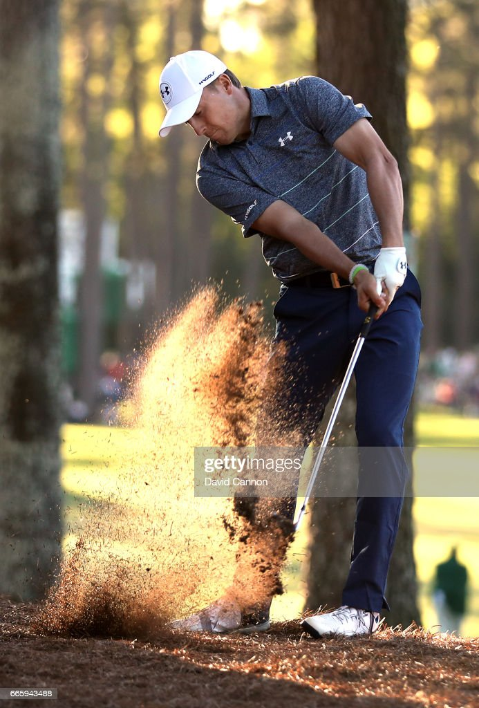 Jordan Spieth of the United States plays his second shot on the 17th hole during the second round of the 2017 Masters Tournament at Augusta National Golf Club on April 7, 2017 in Augusta, Georgia.