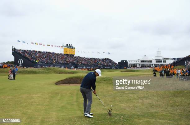 Jordan Spieth of the United States plays his second shot on the 18th hole during the final round of the 146th Open Championship at Royal Birkdale on...