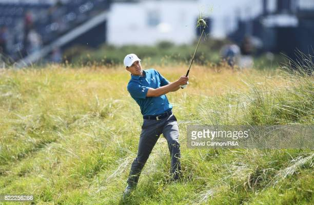 Jordan Spieth of the United States plays his second shot on the 1st hole during the final round of the 146th Open Championship at Royal Birkdale on...