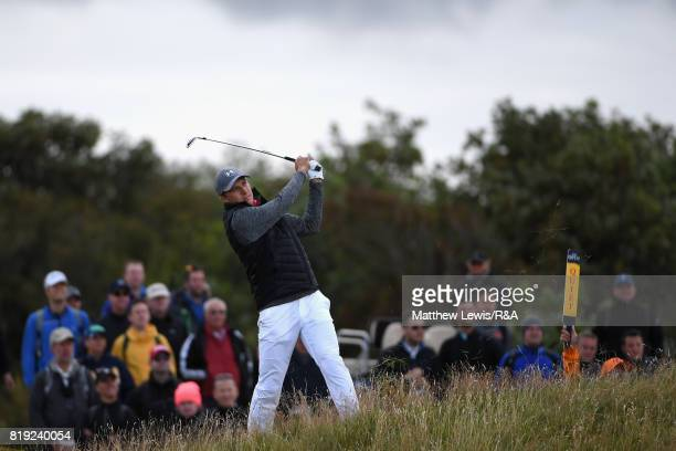 Jordan Spieth of the United States plays his second shot on the second hole during the first round of the 146th Open Championship at Royal Birkdale...