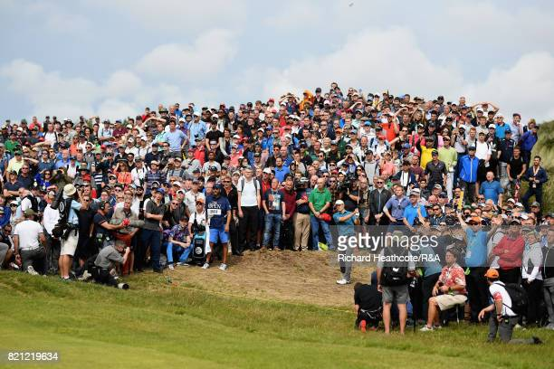 Jordan Spieth of the United States plays his second shot on the sixth hole during the final round of the 146th Open Championship at Royal Birkdale on...