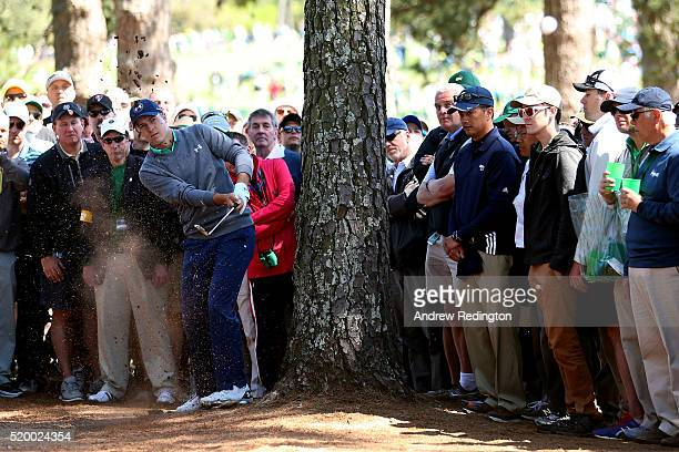 Jordan Spieth of the United States plays his second shot on the third hole during the third round of the 2016 Masters Tournament at Augusta National...