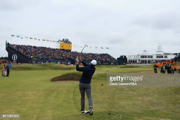 Jordan Spieth of the United States plays his second shot to the 18th green during the final round of the 146th Open Championship at Royal Birkdale on...