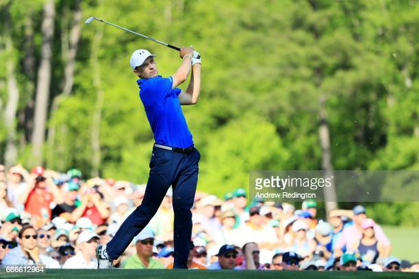 Jordan Spieth of the United States plays his shot from the 12th tee during the final round of the 2017 Masters Tournament at Augusta National Golf...
