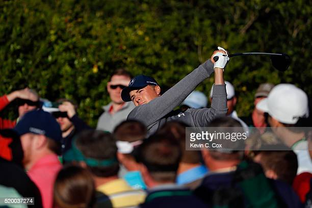 Jordan Spieth of the United States plays his shot from the 15th tee during the third round of the 2016 Masters Tournament at Augusta National Golf...