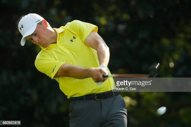 Jordan Spieth of the United States plays his shot from the 17th tee during the first round of the TOUR Championship at East Lake Golf Club on...