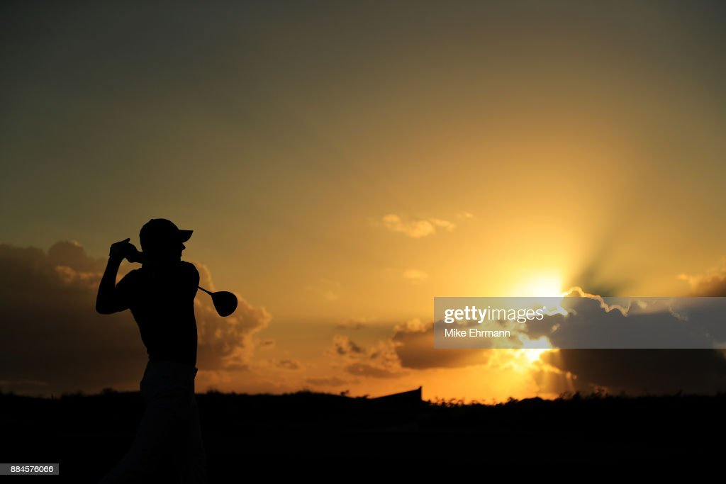 Jordan Spieth of the United States plays his shot from the 18th tee during the third round of the Hero World Challenge at Albany, Bahamas on December 2, 2017 in Nassau, Bahamas.