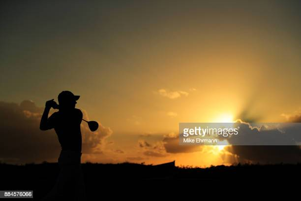 Jordan Spieth of the United States plays his shot from the 18th tee during the third round of the Hero World Challenge at Albany Bahamas on December...