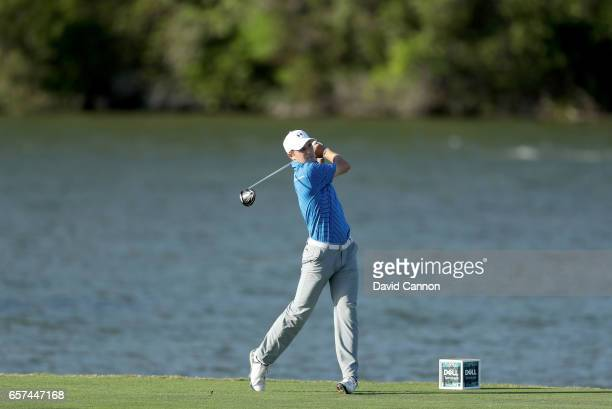 Jordan Spieth of the United States plays his tee shot on the 14th hole with a driver during the second round of the 2017 Dell Match Play at Austin...
