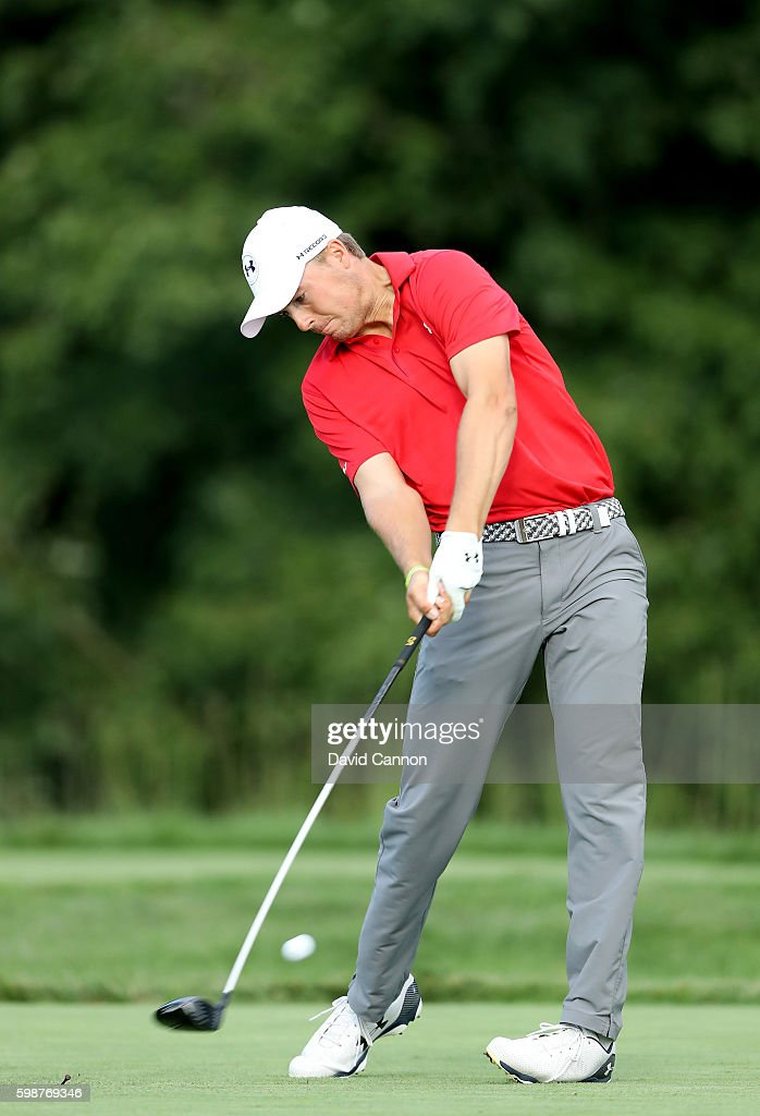 Jordan Spieth of the United States plays his tee shot on the 14th hole during the first round of the Deutsche Bank Championship at TPC Boston on September 2, 2016 in Norton, Massachusetts.