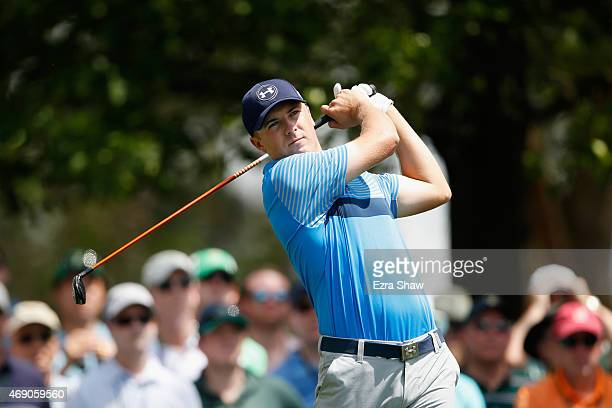 Jordan Spieth of the United States plays his tee shot on the fourth hole during the first round of the 2015 Masters Tournament at Augusta National...