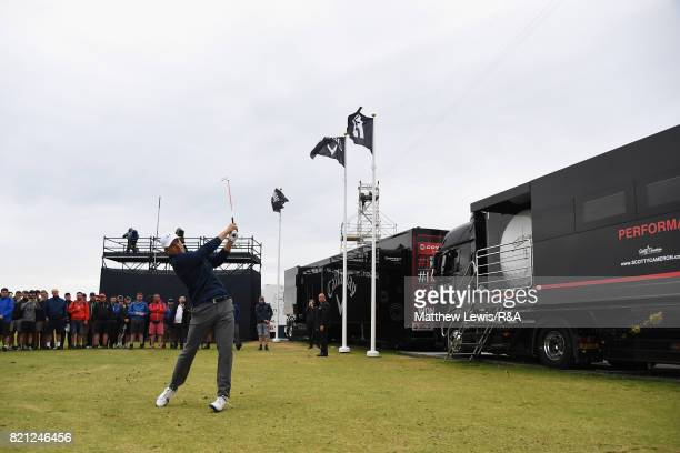 Jordan Spieth of the United States plays his third shot from the practise range on the 13th hole during the final round of the 146th Open...