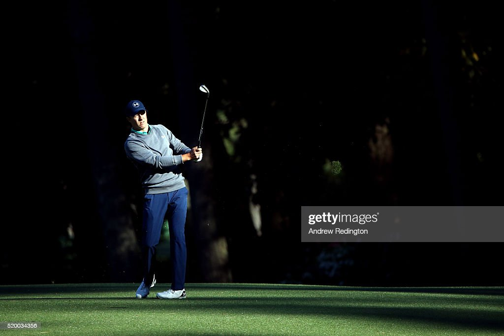 Jordan Spieth of the United States plays his third shot on the 13th hole during the third round of the 2016 Masters Tournament at Augusta National...