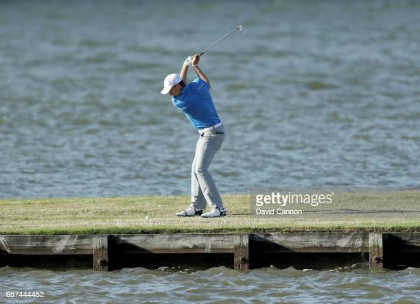 Jordan Spieth of the United States plays his thrid shot on the 13th hole with a midiron during the second round of the 2017 Dell Match Play at Austin...