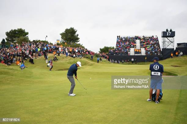 Jordan Spieth of the United States plays in to the 17th green during the final round of the 146th Open Championship at Royal Birkdale on July 23 2017...