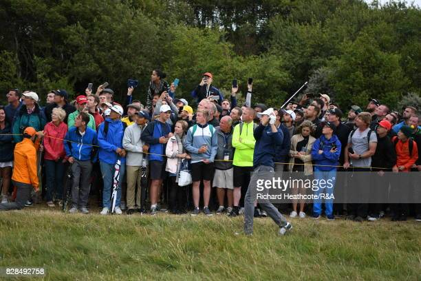 Jordan Spieth of the United States plays into the 17th green during the final round of the 146th Open Championship at Royal Birkdale on July 23 2017...