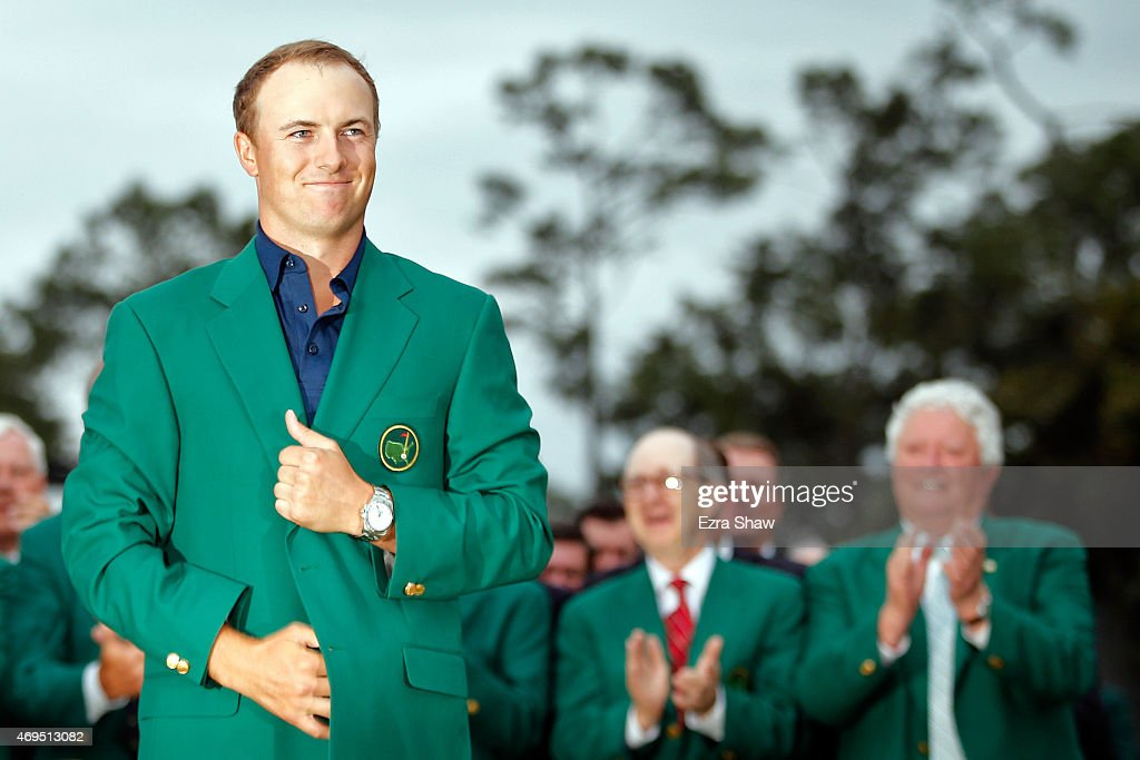 Jordan Spieth of the United States poses with the green jacket after winning the 2015 Masters Tournament at Augusta National Golf Club on April 12, 2015 in Augusta, Georgia.