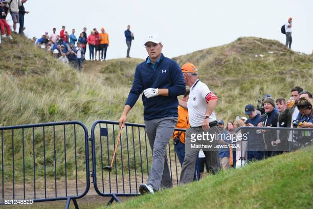 Jordan Spieth of the United States prepares to play his third shot on the 13th hole during the final round of the 146th Open Championship at Royal...