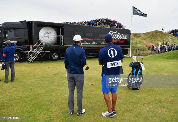 Jordan Spieth of the United States prepares to play his third shot from the practice range on the 13th hole during the final round of the 146th Open...