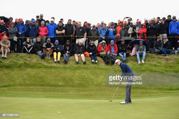 Jordan Spieth of the United States putts on the 10th green during the final round of the 146th Open Championship at Royal Birkdale on July 23 2017 in...