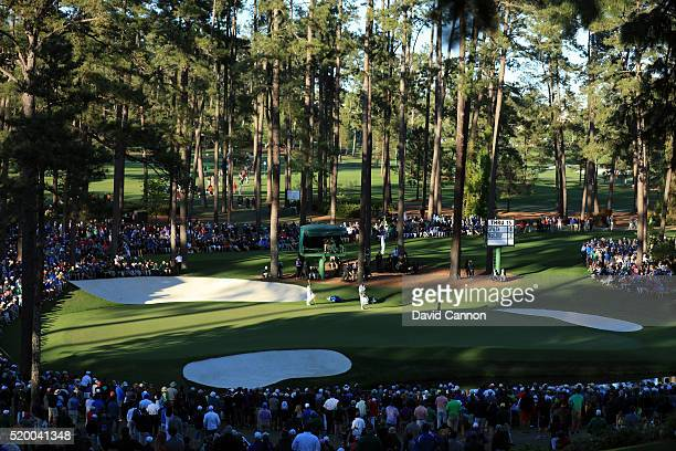 Jordan Spieth of the United States putts on the 16th green during the third round of the 2016 Masters Tournament at Augusta National Golf Club on...