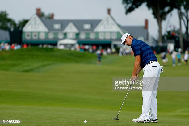 Jordan Spieth of the United States putts on the tenth green during the first round of the US Open at Oakmont Country Club on June 16 2016 in Oakmont...