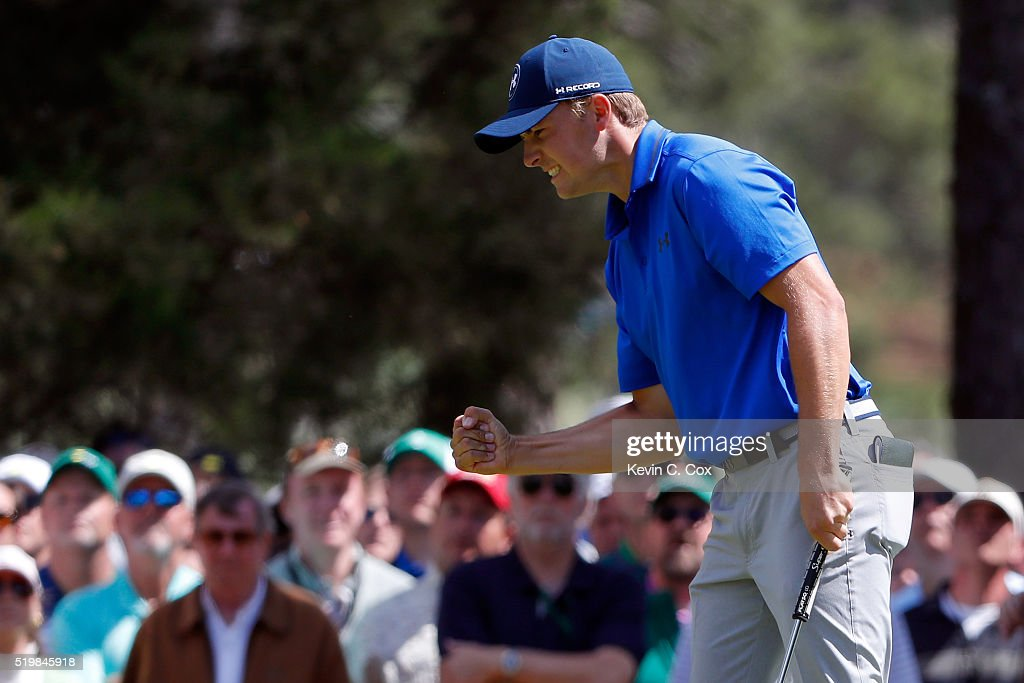 <a gi-track='captionPersonalityLinkClicked' href=/galleries/search?phrase=Jordan+Spieth&family=editorial&specificpeople=5440480 ng-click='$event.stopPropagation()'>Jordan Spieth</a> of the United States reacts after a par on the sixth green during the second round of the 2016 Masters Tournament at Augusta National Golf Club on April 8, 2016 in Augusta, Georgia.