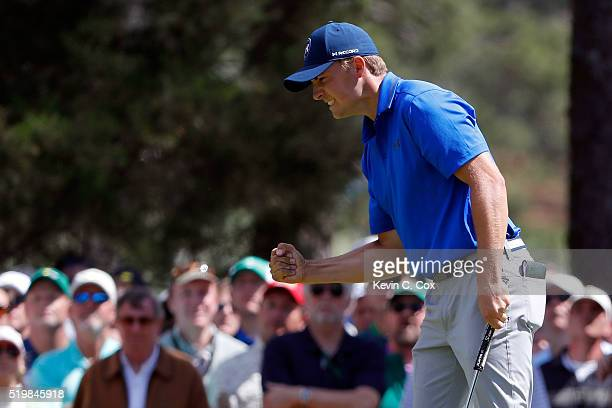 Jordan Spieth of the United States reacts after a par on the sixth green during the second round of the 2016 Masters Tournament at Augusta National...