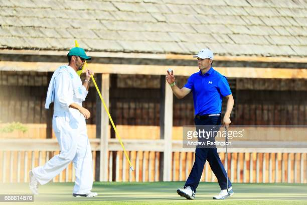 Jordan Spieth of the United States reacts after making birdie on the 11th hole during the final round of the 2017 Masters Tournament at Augusta...