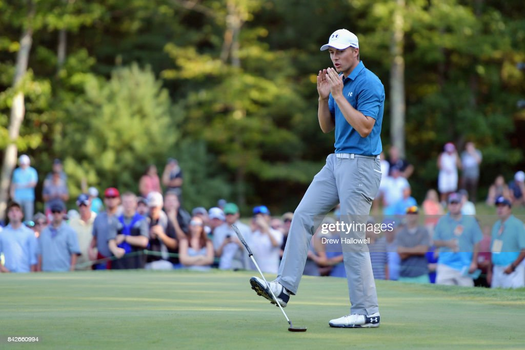 Jordan Spieth of the United States reacts after missing his putt for par on the 14th green during the final round of the Dell Technologies Championship at TPC Boston on September 4, 2017 in Norton, Massachusetts.