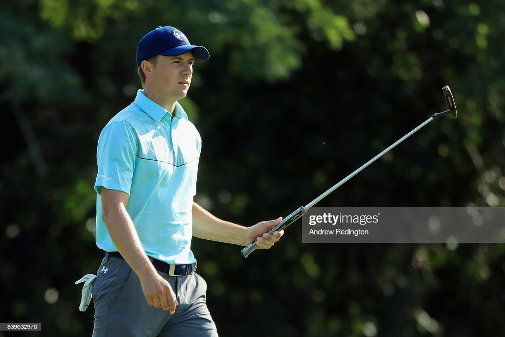 Jordan Spieth of the United States reacts after putting for birdie on the 15th green during round three of The Northern Trust at Glen Oaks Club on August 26, 2017 in Westbury, New York.
