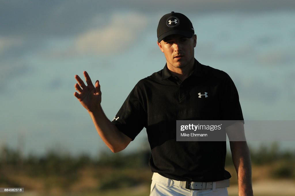 Jordan Spieth of the United States reacts on the 17th green during the third round of the Hero World Challenge at Albany, Bahamas on December 2, 2017 in Nassau, Bahamas.