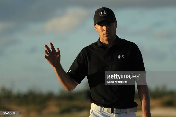 Jordan Spieth of the United States reacts on the 17th green during the third round of the Hero World Challenge at Albany Bahamas on December 2 2017...