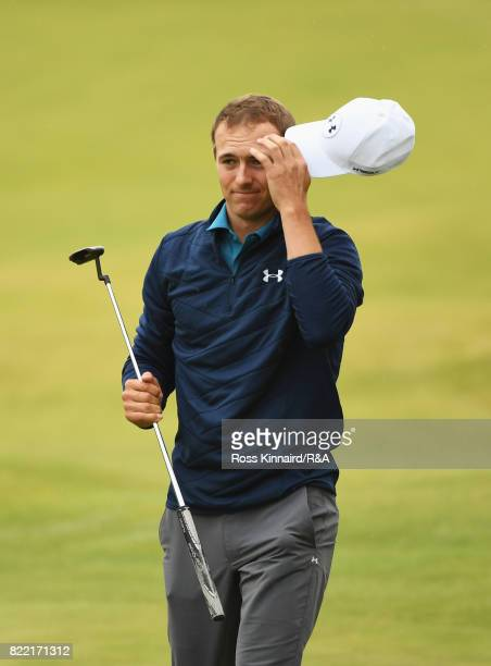 Jordan Spieth of the United States reacts on the 18th green after winning the 146th Open Championship at Royal Birkdale on July 23 2017 in Southport...