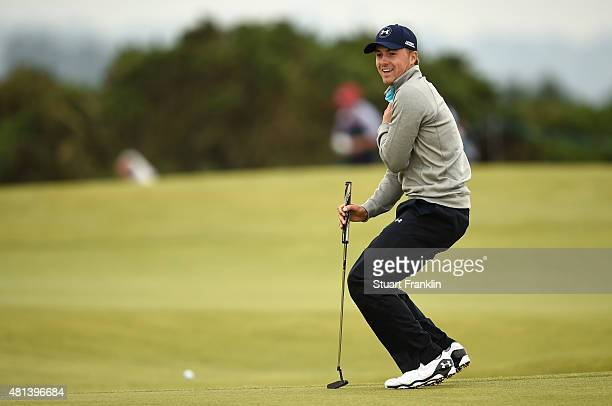 Jordan Spieth of the United States reacts on the 4th green during the final round of the 144th Open Championship at The Old Course on July 20 2015 in...