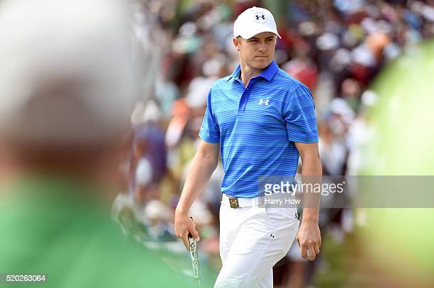 Jordan Spieth of the United States reacts on the second green during the final round of the 2016 Masters Tournament at Augusta National Golf Club on...