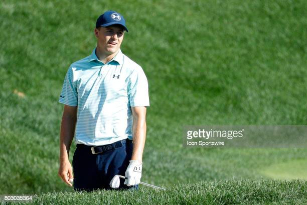 Jordan Spieth of the United States reacts to his bunker shot ending up inches from the cup on 15 during the third round of the Travelers Championship...