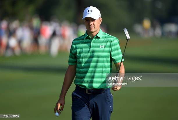 Jordan Spieth of the United States reacts to his putt on the 10th hole during the first round of the 2017 PGA Championship at Quail Hollow Club on...
