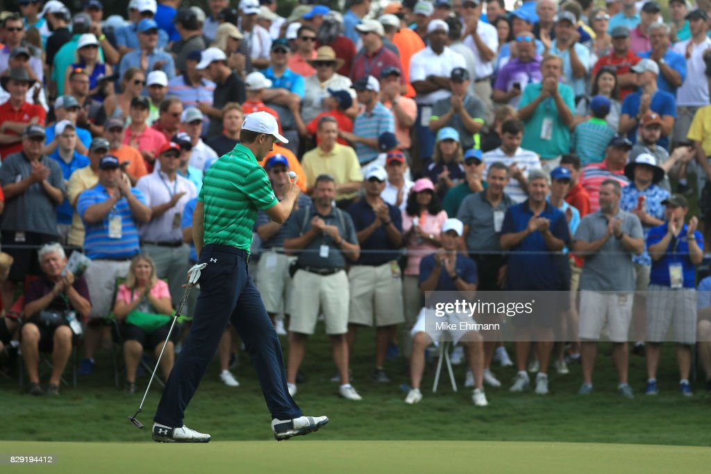 Jordan Spieth of the United States reacts to his putt on the 13th green during the first round of the 2017 PGA Championship at Quail Hollow Club on August 10, 2017 in Charlotte, North Carolina.