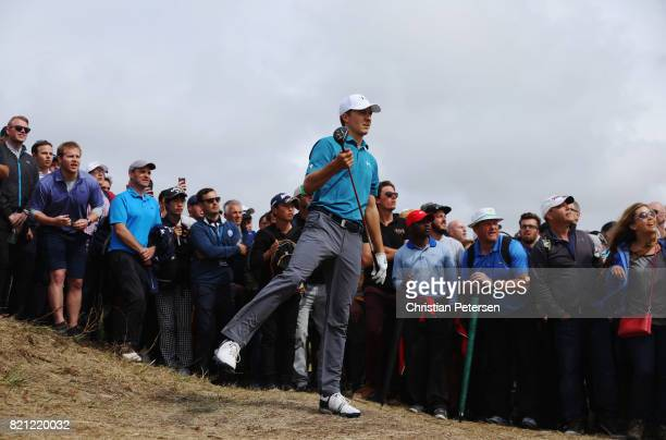 Jordan Spieth of the United States reacts to his second shot on the 6th hole during the final round of the 146th Open Championship at Royal Birkdale...