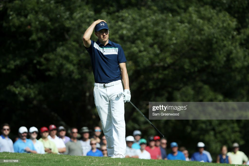 Jordan Spieth of the United States reacts to his shot on the 16th hole during the final round of the TOUR Championship at East Lake Golf Club on September 24, 2017 in Atlanta, Georgia.