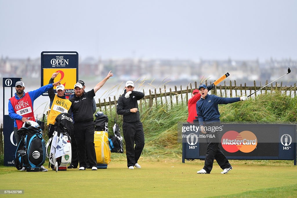 Jordan Spieth of the United States reacts to his tee shot on the 2nd hole during the second round on day two of the 145th Open Championship at Royal...