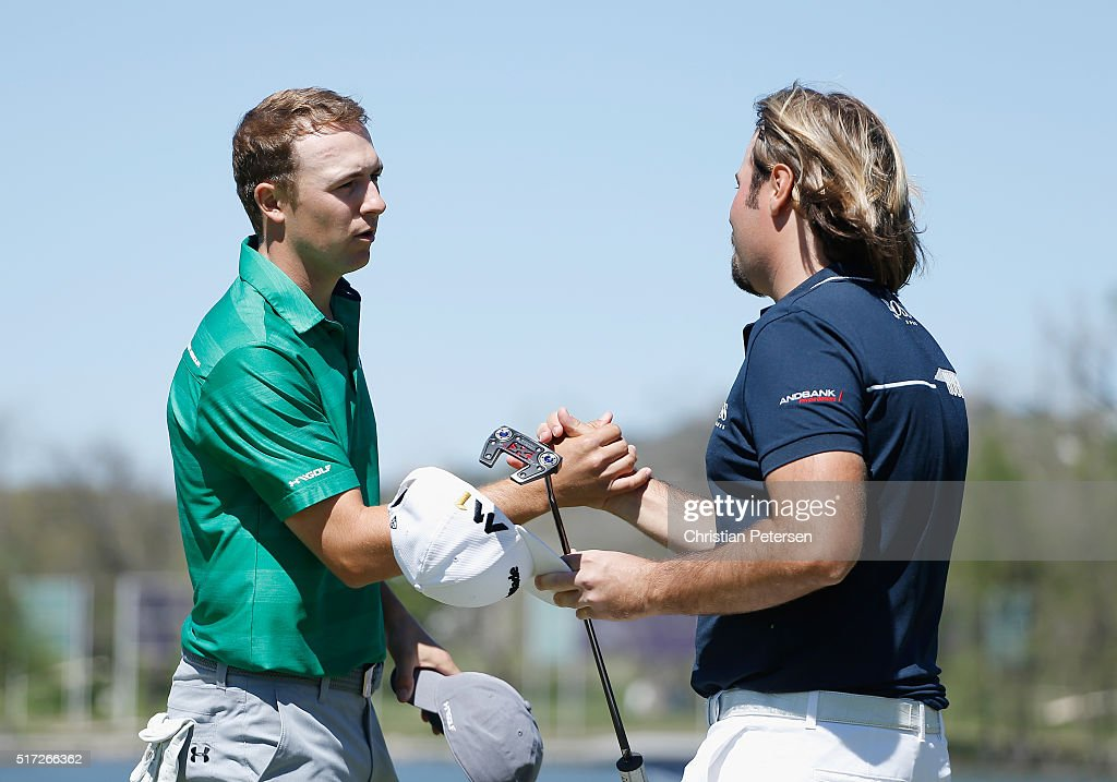 <a gi-track='captionPersonalityLinkClicked' href=/galleries/search?phrase=Jordan+Spieth&family=editorial&specificpeople=5440480 ng-click='$event.stopPropagation()'>Jordan Spieth</a> of the United States (L) shakes hands with <a gi-track='captionPersonalityLinkClicked' href=/galleries/search?phrase=Victor+Dubuisson&family=editorial&specificpeople=3333395 ng-click='$event.stopPropagation()'>Victor Dubuisson</a> of France after Spieth won their match 5&4 on the 14th green during the second round of the World Golf Championships-Dell Match Play at the Austin Country Club on March 24, 2016 in Austin, Texas.