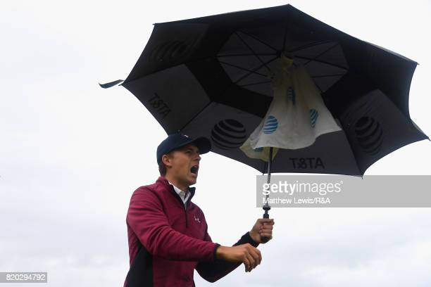 Jordan Spieth of the United States shouts fore during the second round of the 146th Open Championship at Royal Birkdale on July 21 2017 in Southport...