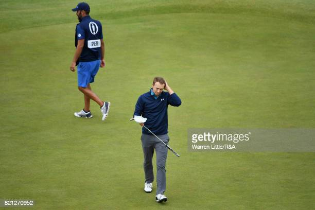 Jordan Spieth of the United States shows emotion on the 18th green after winning the 146th Open Championship at Royal Birkdale on July 23 2017 in...