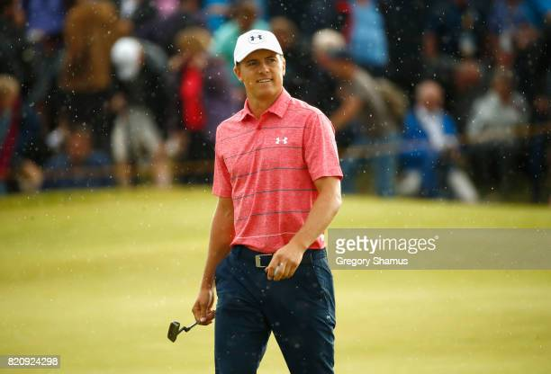Jordan Spieth of the United States smiles during the third round of the 146th Open Championship at Royal Birkdale on July 22 2017 in Southport England