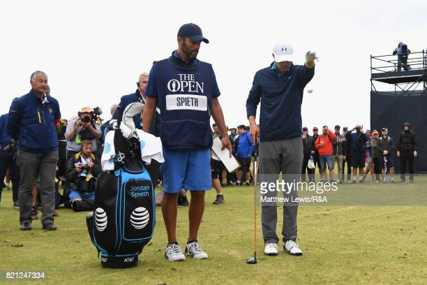 Jordan Spieth of the United States takes a penalty drop on the practise range while playing the 13th hole during the final round of the 146th Open...
