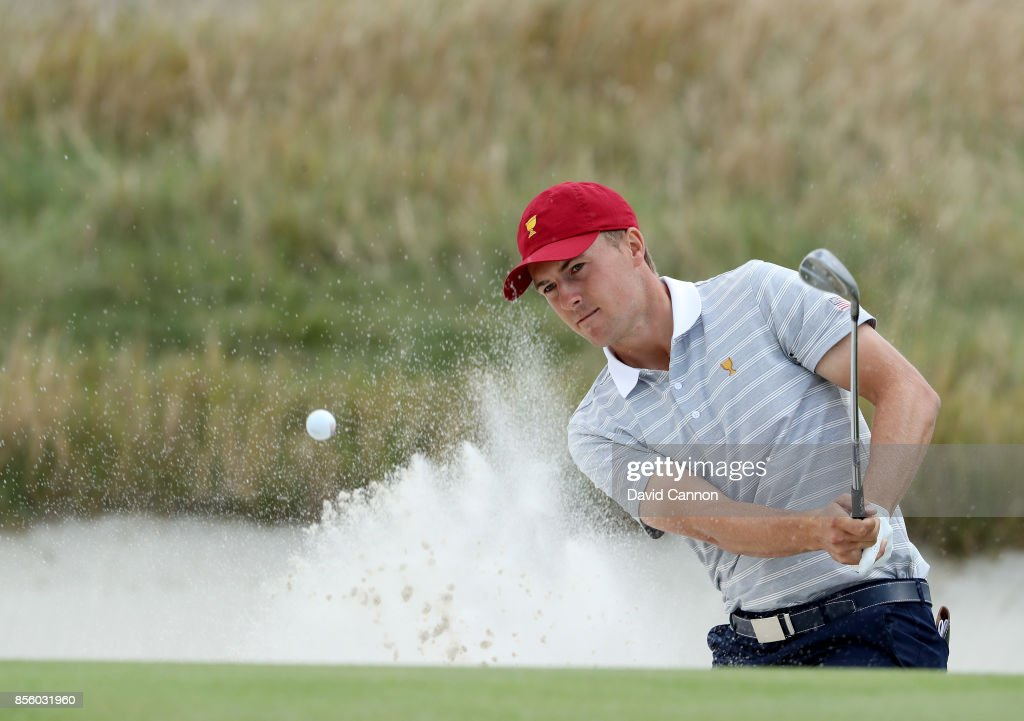 Jordan Spieth of the United States team plays his second shot on the 10th hole in his match with Patrick Reed in tehir match against Jason Day and Louis Oosthuizen of the International team during the Saturday afternoon fourball matches in the 2017 Presidents Cup at the Liberty National Golf Club on September 30, 2017 in Jersey City, New Jersey.