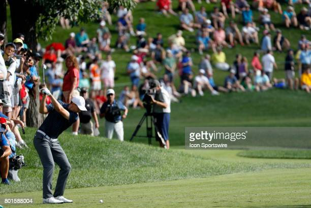 Jordan Spieth of the United States tees off on 16 during the final round of the Travelers Championship on June 25 at TPC River Highlands in Cromwell...