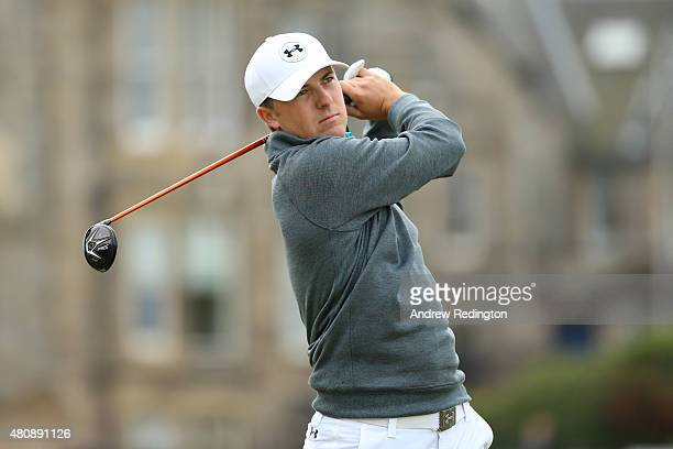 Jordan Spieth of the United States tees off on the 2nd hole during the first round of the 144th Open Championship at The Old Course on July 16 2015...